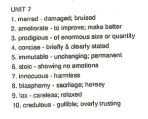 10th Grade Unit 7 Vocabulary