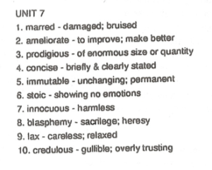 10th Grade Unit 7 Vocabulary