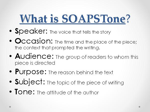 Soapstone Reading Strategy : Soapstone a strategy for writing and reading